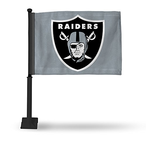 NFL Oakland Raiders Car Flag, Gray, with Black Pole