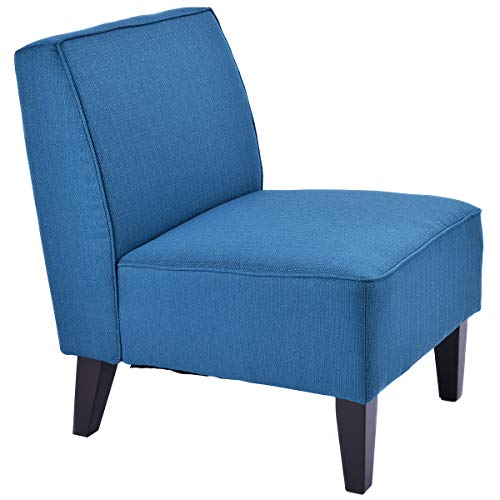 Giantex Deco Solids Accent Chair Armless Living Room Bedroom Office Contemporary (Blue) (Armless Accent Blue Chair)
