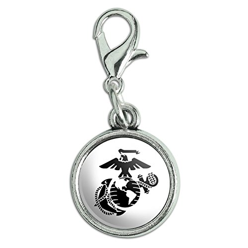 GRAPHICS & MORE Marine Corps USMC Black on White Eagle Globe Anchor Officially Licensed Antiqued Bracelet Pendant Zipper Pull Charm with Lobster Clasp