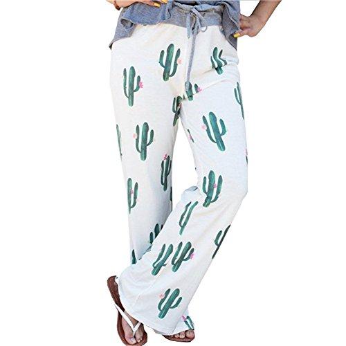 Artfish Women Floral Drawsting Hight Waist Wide Leg Long Pants Casual Trousers(White M)