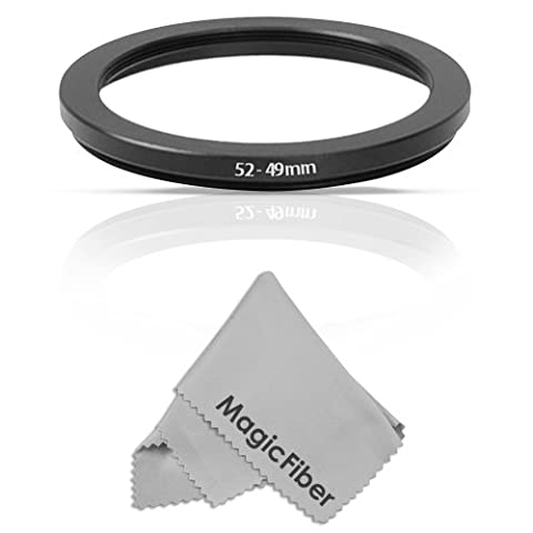 Goja 52-49MM Step-Down Adapter Ring (52MM Lens to 49MM Accessory) + Premium MagicFiber Microfiber Cleaning - 52 Mm Step