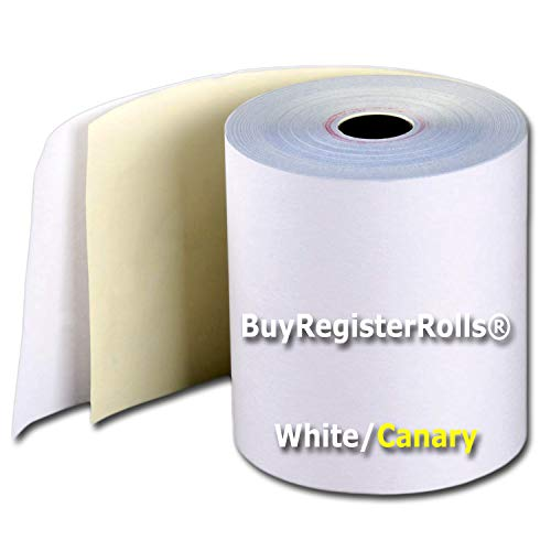 3 x 90' 2-Ply White/Canary Carbonless Kitchen Paper 50 Rolls Made in USA From -