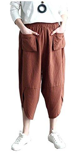 Pantaloni Estivi Signore Light Eleganti Lino Pantaloni Con Tasche Vita Elastica Monocromo Nahen Taille Chic Ragazza Lunga Trousers Pantaloni Tendenza Pantaloni Di Stoffa Moda Giovane Abbigliamento Kaffee