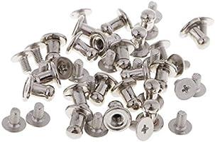 P Prettyia 20 Set Chicago Schrauben Nieten G/ürtel Tasche Schraubnieten Leder Reparatur Schrauben rund Kopf Silber