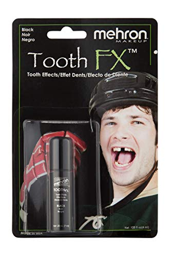 Mehron Makeup Tooth FX with Brush for Special Effects, Halloween, Movies (.25 oz) (Black) -