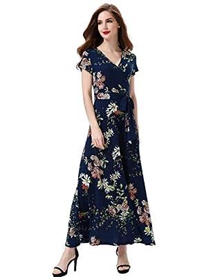 Aphratti Women's Bohemian Short Sleeve V Neck Faux Wrap Vintage Maxi Dress