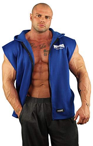 Physique Bodyware Men's Sleeveless V-Tapered Bodybuilder Hoodie. Made in America. (Royal Blue, ()