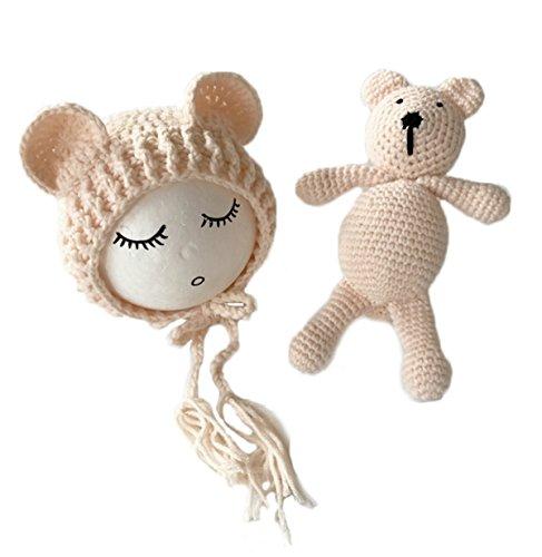 Knit Hat Teddy - Tianve Newborn Baby Boy Girl Crochet Bear Beanie Hat With Baby Dolls Knit Cotton Soft Photograph Props(0-2 Months) (Beige)