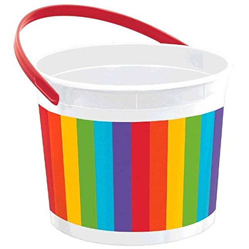 Colorful Plastic Bucket - Rainbow Party Favour and Treats, 7