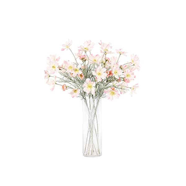 LEMON. Floral 8Pieces 23.6″ Long of 6 Head Cosmos Artificial Flower Artificial Flowers Fake Flower for Wedding Home Office Party Hotel Restaurant Patio or Yard Decoration(Light Pink)