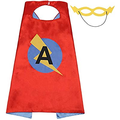 """LYNDA SUTTON Kids/Adult Superhero Capes with 26 Letter Initial Cape Red & Blue Cape for Boy Girl 27.5""""/47"""""""
