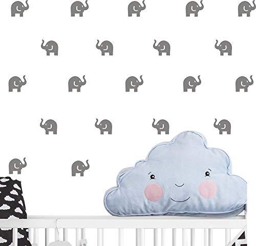 Cute Elephant Decal -36 set elephant wall decor Stickers for kids bedroom- Art vinyl removable nursery room wall decals (dark gray)