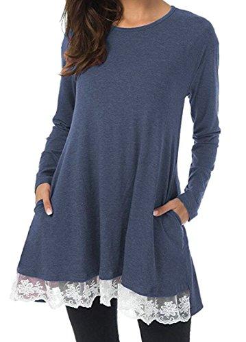 Blouse With Pocket Top Women Casual s Dress Long Jaycargogo Tunic 2 Sleeve Hem Lace aPqzfyfw7
