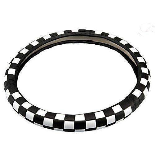 Kune JCW Checkered Flag Style Leather Steering Wheel Cover 15