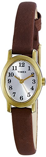 - Timex Women's Cavatina | Gold-Tone Case Brown Leather Strap | T2M567