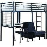 Coaster Fine Furniture 2209 Contemporary Metal Bunk Bed With Futon/Desk/Chair, Black