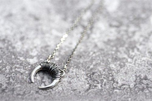 Crescent Moon Necklace, 925 Sterling Silver Wire Wrapped Horn Pendant, Tusk Charm, Minimalist Handmade ()