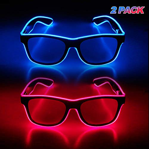 YouRfocus Light Up Glasses Glow in The Dark 2 Packs LED Sunglasses for Rave Party, EDM, Disco, Concert with EL Wire Flashing and Blinking Modes