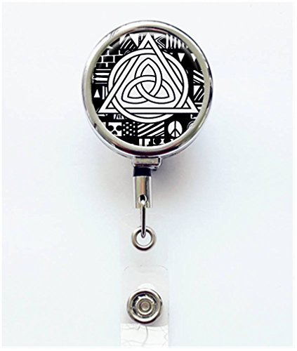RhyNSky Celtic Knot Triquetra Retractable Badge Holder Reel Clip with Alligator Clip for Name Tag ID Card Keys, Silvery, C137 ()