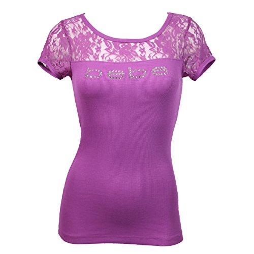 Bebe Tee Logo Lace Short Sleeve Crew Neck T-shirt Crystals Ribbed (L, Purple KPS)