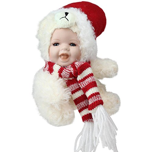 Northlight Porcelain Baby in Polar Bear Costume with Santa Hat Collectible Christmas Doll, 5.75