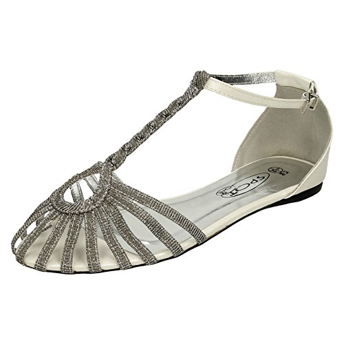 Ladies Spot On T-Bar Plaited Glitter Strap Sandals Silver