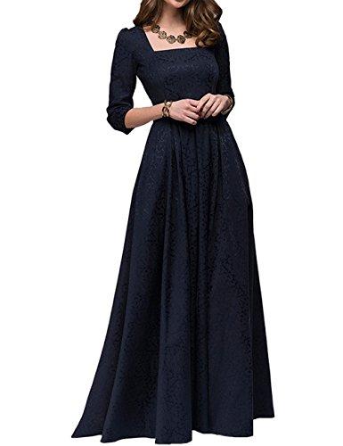 Simple Flavor Women's Vintage Patchwork Evening Elegant Long Dress(Navy Blue,S)