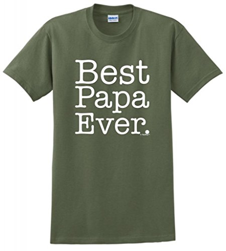 Best Papa Ever T-Shirt Large Military Green