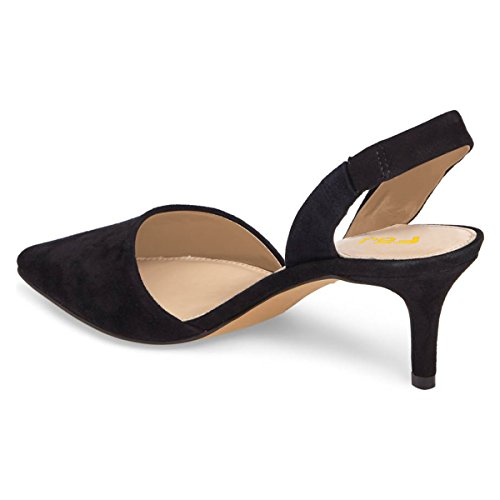 Kitten 4 15 Black Women Pumps Sandals Us Dress Pointed Fsj Shoes Low Fashion Size Toe Heels Slingback 6qtaOO1w