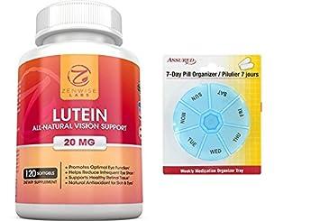 Suplemento vitamínico de luteína 20mg - 120 cápsulas con gratis 7 días plástico píldora organizadores