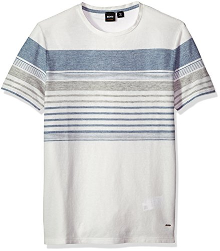 Hugo Boss Boss Orange Men's Cotton Linen Mutli Color Melange Stripe Tee, Blue, Small by Hugo Boss