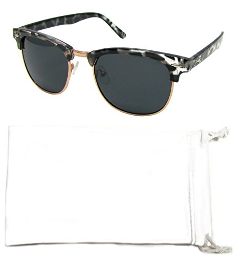 Vox Polarized Sunglasses Horn-Rimmed Classic 80's Look Retro Vintage Celebrity Eyewear- Great for smaller faces! – Clear Tortoise Frame - Smoke - Clubmaster Celebrities