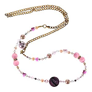 Crystal Diva Women's Gold Pink and White Pearls and Swarovski Elements Long Chain