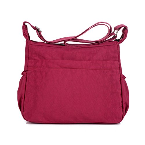 Red TianHengYi Womens Messenger Pockets Shoulder with Bag body Bag Cross Casual Lightweight Zipper Nylon x4waOx