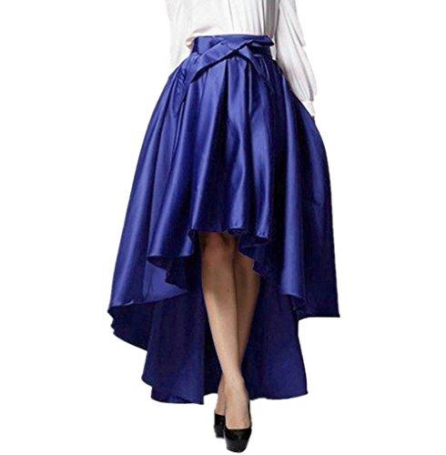 Womens Fashion Asymmetrical Hem Bowknot Formal Forked Tail Skirts Long Skirt (Long Taffeta Skirt)