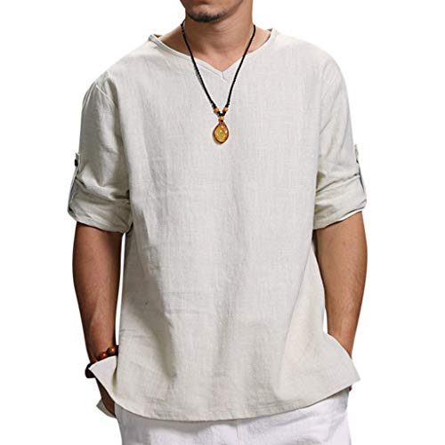 Pure Color T-Shirt for Men,LuluZanm Sale Summer Loose Cotton and Hemp Soft Blouse Fashion Adjustable Sleeve Tops White