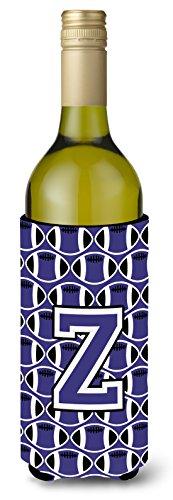 UPC 638508040343, Letter Z Football Purple and White Wine Bottle Beverage Insulator Hugger CJ1068-ZLITERK