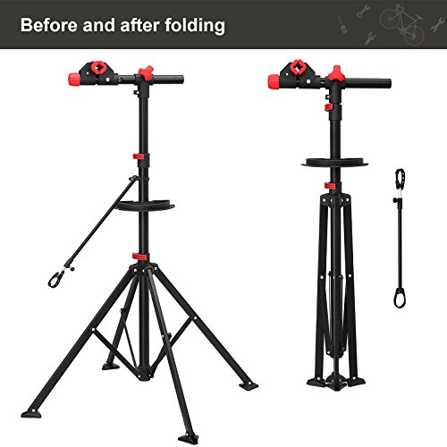 SONGMICS Pro Mechanic Bike Repair Stand with Tool Tray Telescopic Bicycle Maintenance Rack Workstand Lightweight and Portable USBR02B by SONGMICS (Image #8)