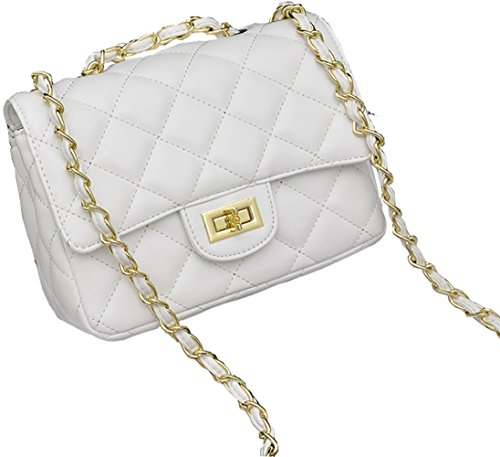 Covelin Women's Leather Fashion Handbag Quilting Envelope Cross Body Shoulder Bag (White Patent Bag)