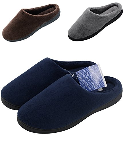 HomeTop Soft Winter Warm Memory Foam Coral Fleece House Slippers for Men – Assorted Styles & Color