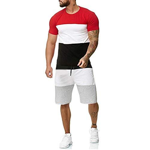TANGSen_Mens Outfit Sport Sets Summer Plus Size Casual Sport Set Short Sleeve Patchwork Elastic Waist Sets Red