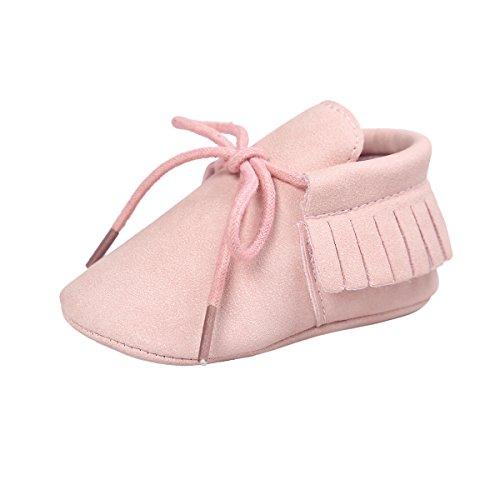 Royal Victory RVROVIC Baby Boys Girls Moccasins Soft Sole Tassels Prewalker Anti-Slip Shoes (S:0~6 Months, PU Pink) ()