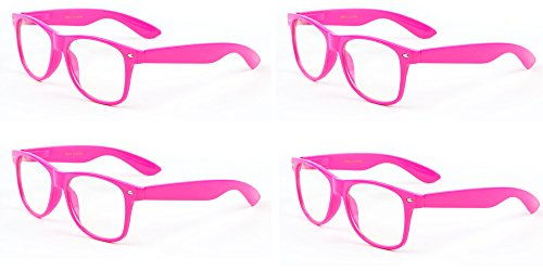 Vision World Eyewear 4 Pink Neon Color 80's Retro Classic Party Nerd Clear Lens Glasses - Nerd Glasses Pink
