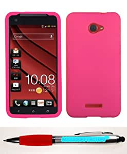 Accessory Factory(TM) Bundle (Phone Case, 2in1 Stylus Point Pen) HTC Droid DNA Solid Skin Cover (Hot Pink)