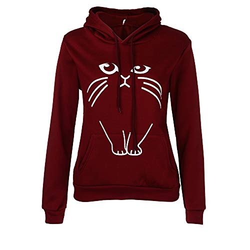 Womens Cat Print Cute Hoodie Sweatshirt Hooded Pullover Tops Blouse Duseedik]()
