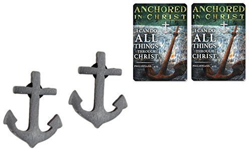Christian Tools of Affirmation Set of 2 'Anchored in Christ' Pewter Anchor Lapel Pins with Prayer Cards
