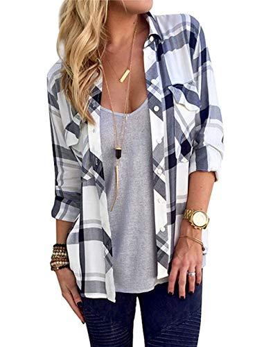 Wisptime Women Button Down Plaid Shirts Casual Long Sleeve Blouse Gingham Checkered Shirt