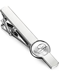 Engraved Initial Tie Clip Bar Letter Tie Pins Set for Mens Business Wedding Shirts Tie Clips A-Z