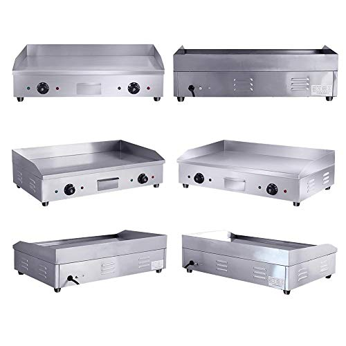 Commercial 4400W Electric Countertop Griddle Stainless Steel Grill Machine with 2 Adjustable Burners for Restaurant Barbecue by GOLDEN ELEPHANT (Image #6)