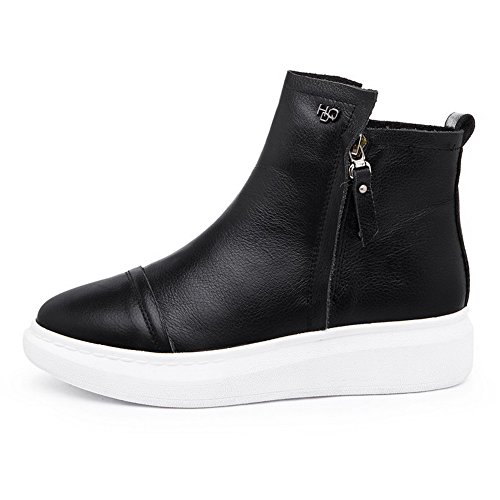 Black and Solid Blend 37 Ornament Closed Materials Thread WeiPoot Boots Women's Toe with Metal 7wAO1